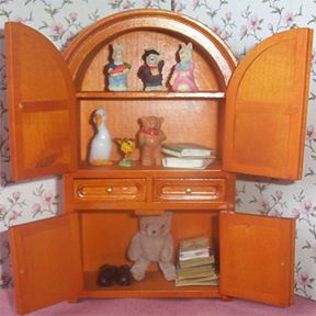 armoire containing miniature toys